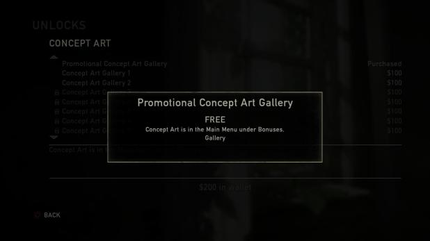 Unlockable Content UI - The Last of Us