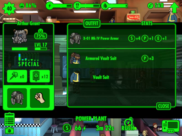 Inventory UI - Fallout Shelter
