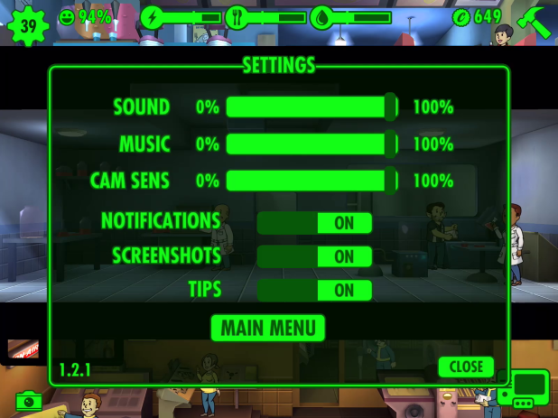 Settings UI - Fallout Shelter